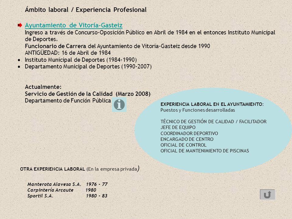 Ámbito laboral / Experiencia Profesional Ayuntamiento de Vitoria-Gasteiz Ingreso a través de Concurso-Oposición Público en Abril de 1984 en el entonce