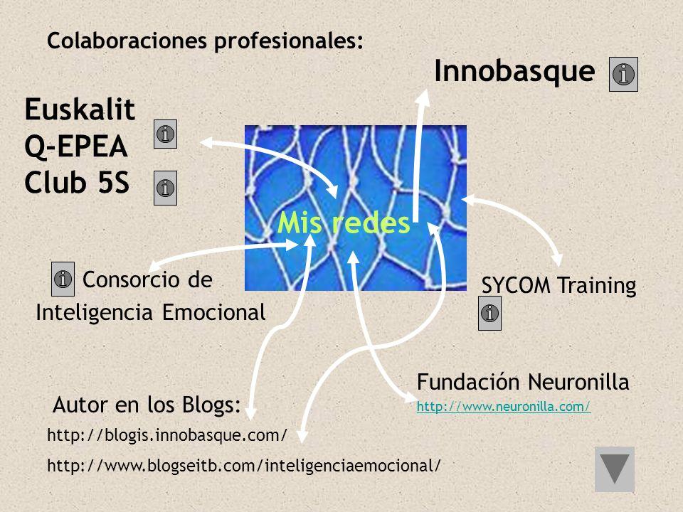 Mis redes Euskalit Q-EPEA Club 5S Innobasque http://blogis.innobasque.com/ http://www.blogseitb.com/inteligenciaemocional/ Autor en los Blogs: Colabor