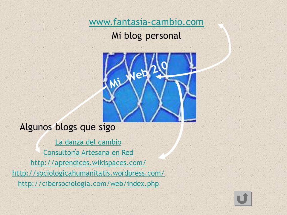 Mi Web 2.0 www.fantasia-cambio.com Mi blog personal La danza del cambio Consultoría Artesana en Red http://aprendices.wikispaces.com/ http://sociologi