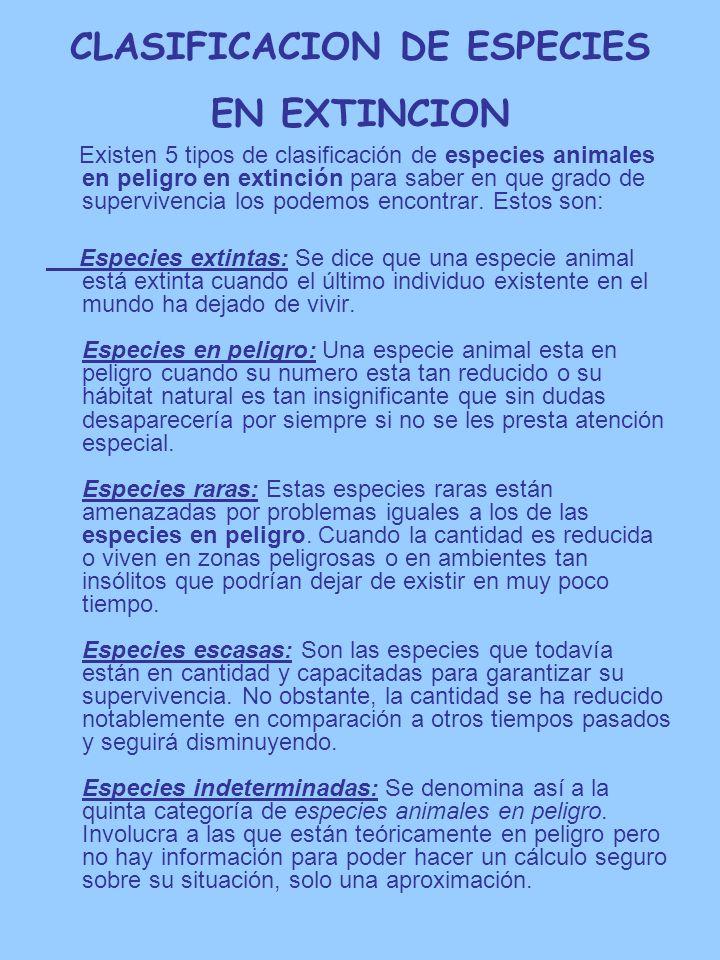 CLASIFICACION DE ESPECIES EN EXTINCION Existen 5 tipos de clasificación de especies animales en peligro en extinción para saber en que grado de superv