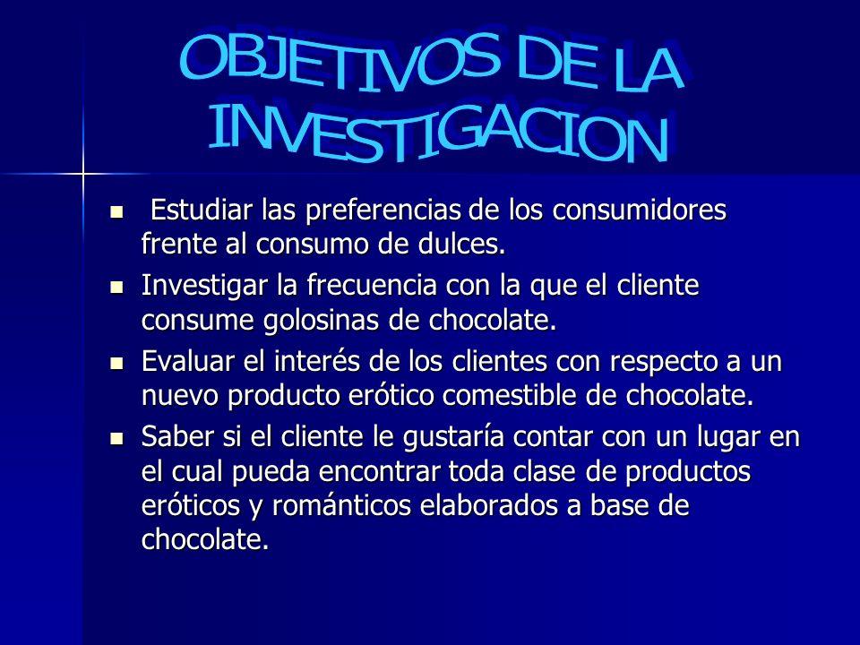 Estudiar las preferencias de los consumidores frente al consumo de dulces. Estudiar las preferencias de los consumidores frente al consumo de dulces.