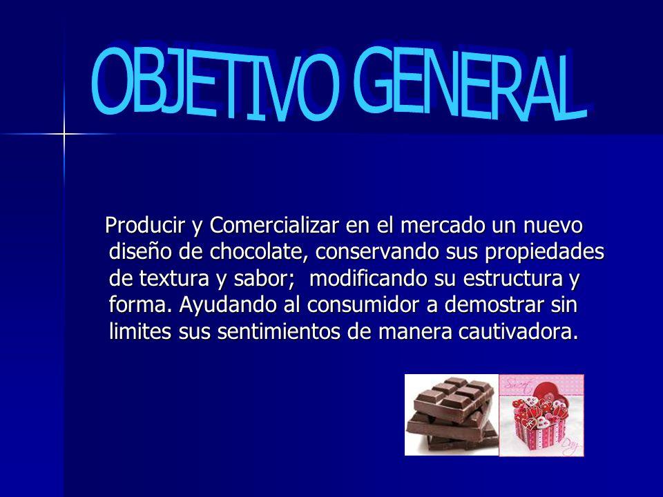 Producir y Comercializar en el mercado un nuevo diseño de chocolate, conservando sus propiedades de textura y sabor; modificando su estructura y forma