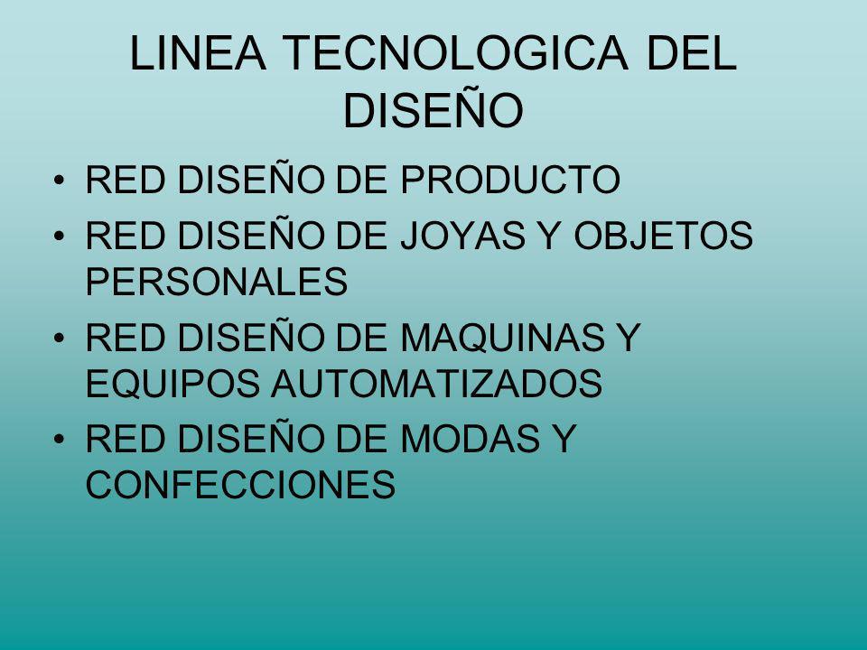 LINEA TECNOLOGICA DEL DISEÑO RED DISEÑO DE PRODUCTO RED DISEÑO DE JOYAS Y OBJETOS PERSONALES RED DISEÑO DE MAQUINAS Y EQUIPOS AUTOMATIZADOS RED DISEÑO DE MODAS Y CONFECCIONES