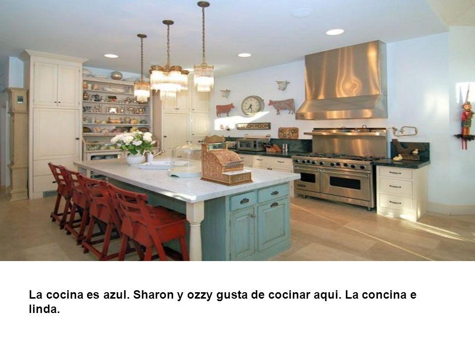 La cocina es azul. Sharon y ozzy gusta de cocinar aqui. La concina e linda.