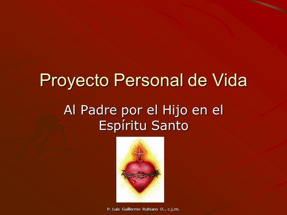 P. Luis Guillermo Rubiano O., c.j.m. Proyecto Personal de Vida Al Padre por el Hijo en el Espíritu Santo