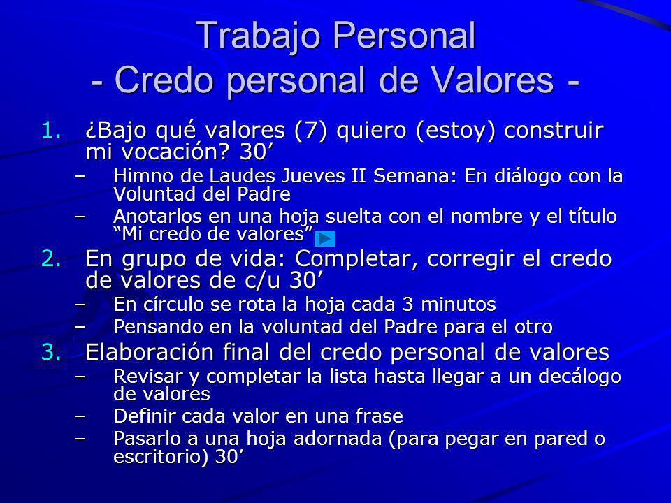 Trabajo Personal - Credo personal de Valores - 1.¿Bajo qué valores (7) quiero (estoy) construir mi vocación? 30 –Himno de Laudes Jueves II Semana: En