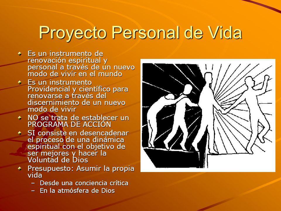Proyecto Personal de Vida Es un instrumento de renovación espiritual y personal a través de un nuevo modo de vivir en el mundo Es un instrumento Provi