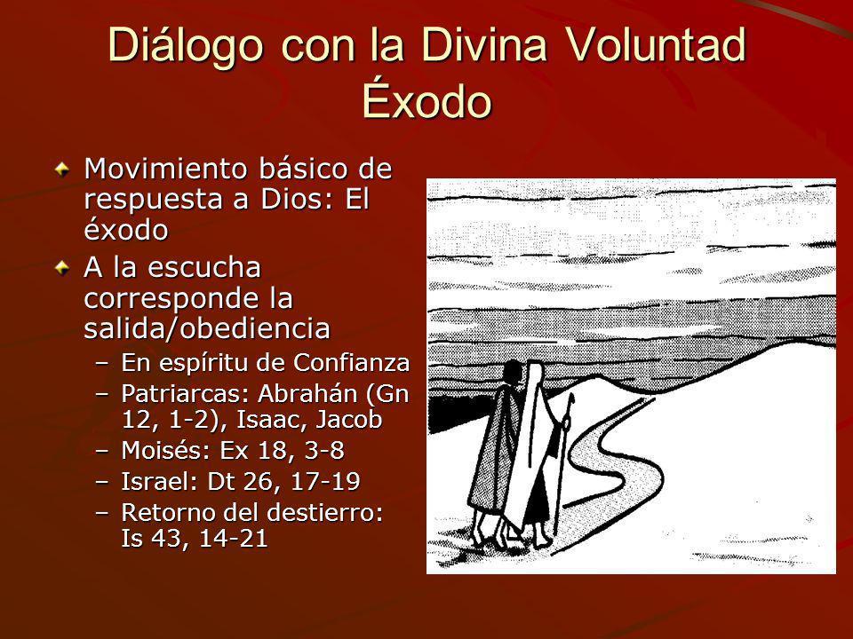 Diálogo con la Divina Voluntad Éxodo Movimiento básico de respuesta a Dios: El éxodo A la escucha corresponde la salida/obediencia –En espíritu de Con