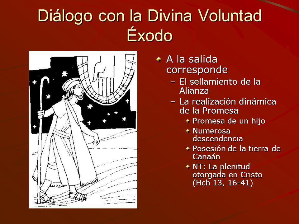 Diálogo con la Divina Voluntad Éxodo A la salida corresponde –El sellamiento de la Alianza –La realización dinámica de la Promesa Promesa de un hijo N