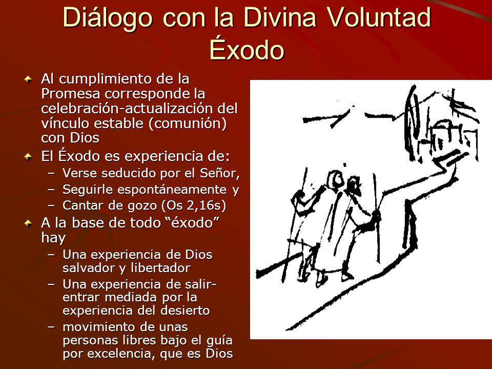 Diálogo con la Divina Voluntad Éxodo Al cumplimiento de la Promesa corresponde la celebración-actualización del vínculo estable (comunión) con Dios El