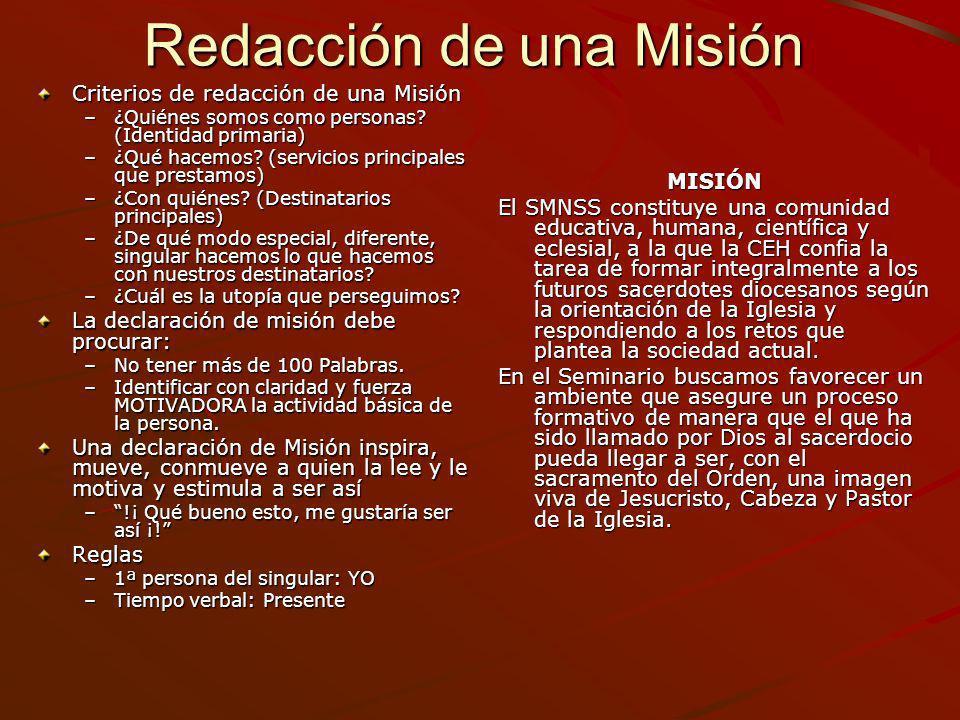 Redacción de una Misión Criterios de redacción de una Misión –¿Quiénes somos como personas? (Identidad primaria) –¿Qué hacemos? (servicios principales