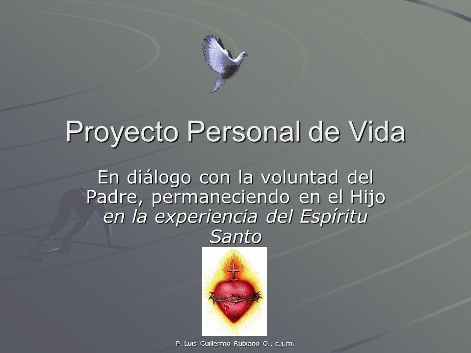 P. Luis Guillermo Rubiano O., c.j.m. Proyecto Personal de Vida En diálogo con la voluntad del Padre, permaneciendo en el Hijo en la experiencia del Es