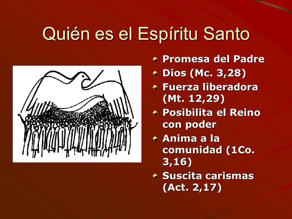 Quién es el Espíritu Santo Promesa del Padre Dios (Mc. 3,28) Fuerza liberadora (Mt. 12,29) Posibilita el Reino con poder Anima a la comunidad (1Co. 3,