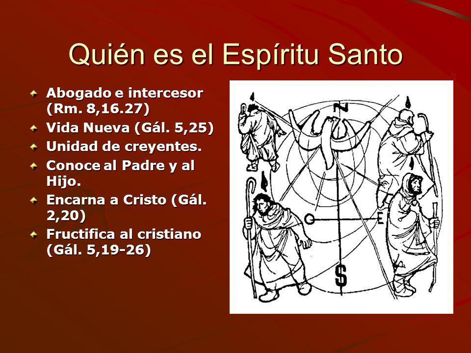 Quién es el Espíritu Santo Abogado e intercesor (Rm. 8,16.27) Vida Nueva (Gál. 5,25) Unidad de creyentes. Conoce al Padre y al Hijo. Encarna a Cristo
