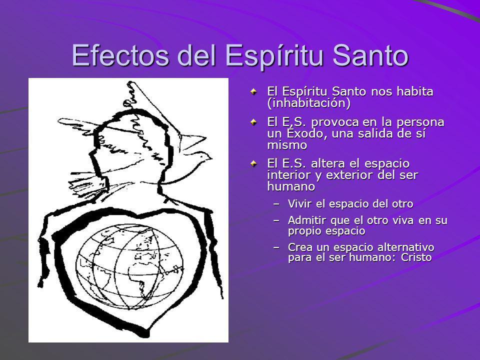 Efectos del Espíritu Santo El Espíritu Santo nos habita (inhabitación) El E.S. provoca en la persona un Éxodo, una salida de sí mismo El E.S. altera e