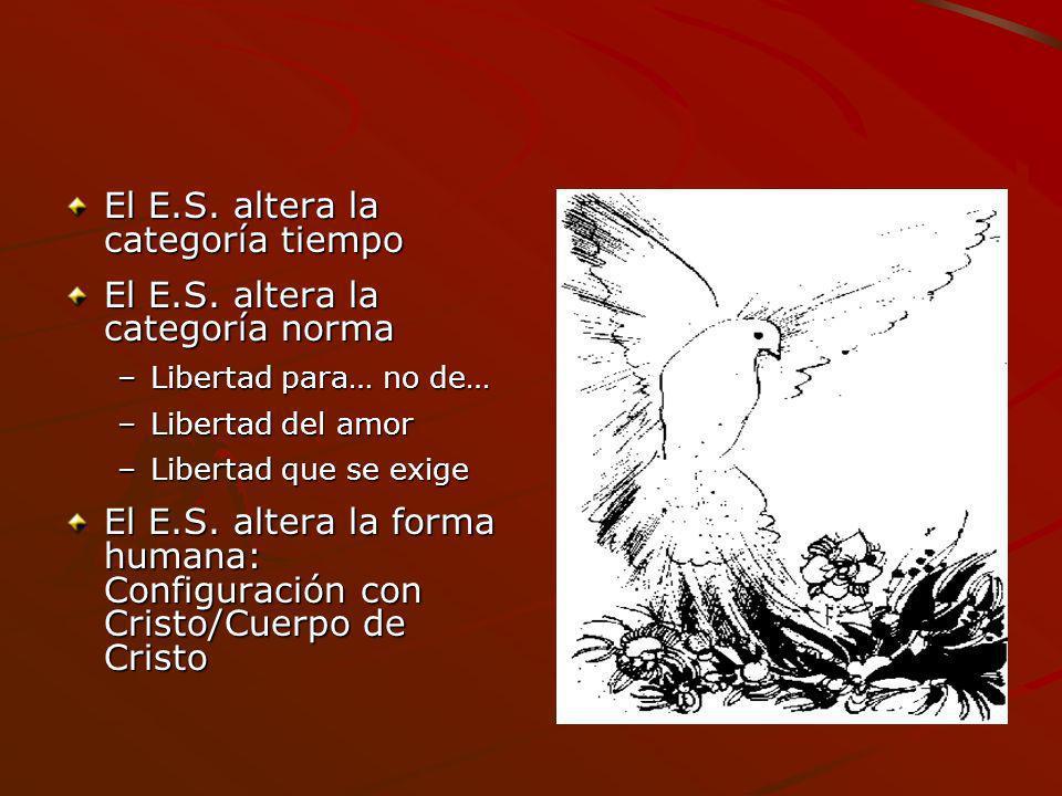 El E.S. altera la categoría tiempo El E.S. altera la categoría norma –Libertad para… no de… –Libertad del amor –Libertad que se exige El E.S. altera l