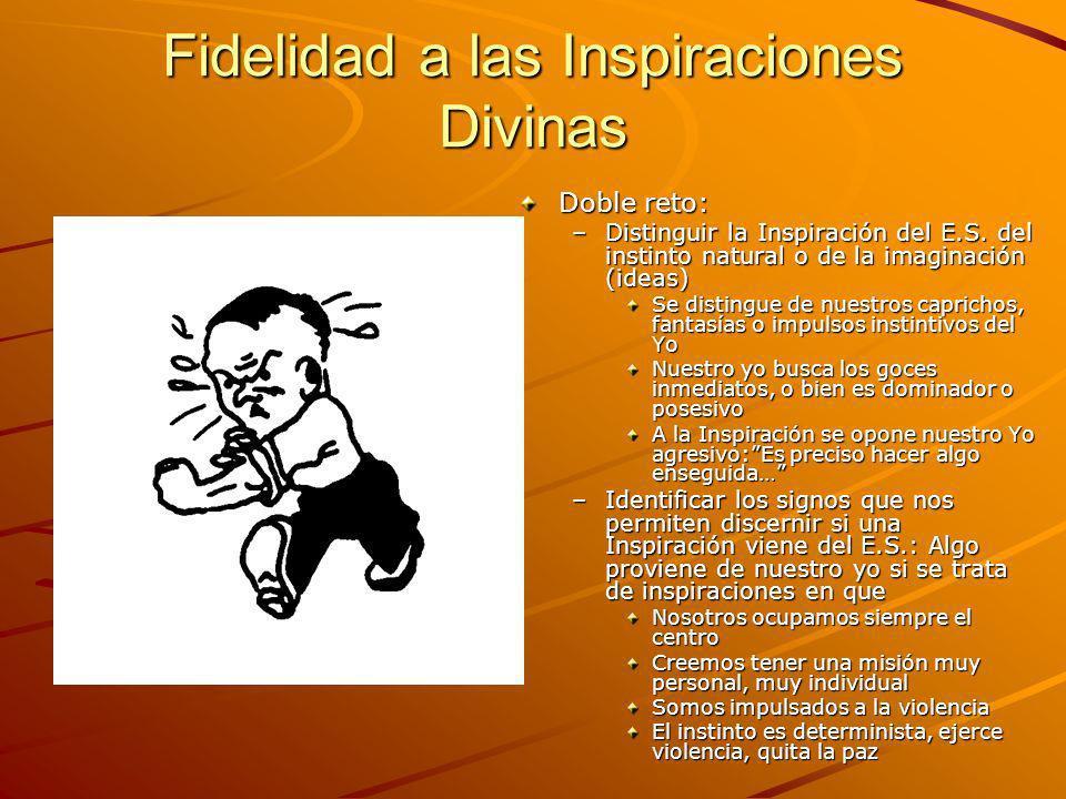 Fidelidad a las Inspiraciones Divinas Doble reto: –Distinguir la Inspiración del E.S. del instinto natural o de la imaginación (ideas) Se distingue de