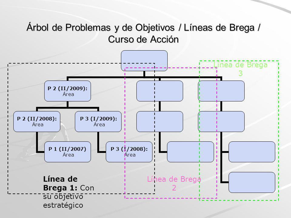 Árbol de Problemas y de Objetivos / Líneas de Brega / Curso de Acción P 2 (II/2009): Área P 2 (II/2008): Área P 1 (II/2007) Área P 3 (I/2009): Área P
