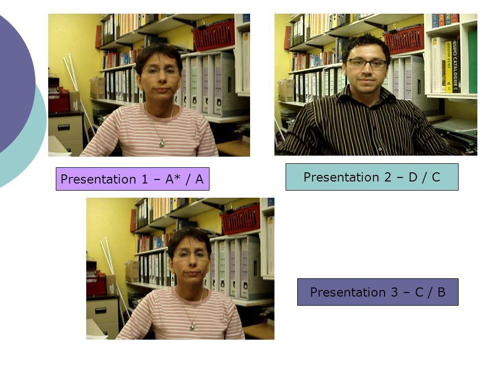 Presentation 1 – A* / A Presentation 2 – D / C Presentation 3 – C / B