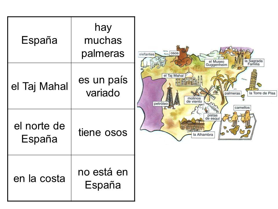 España hay muchas palmeras el Taj Mahal es un país variado el norte de España tiene osos en la costa no está en España