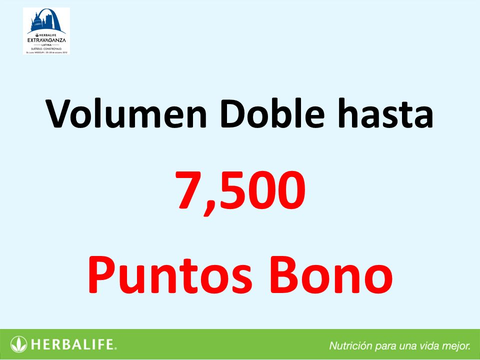 Volumen Doble hasta 7,500 Puntos Bono