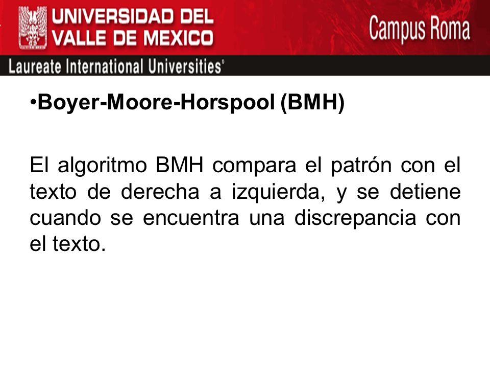 Boyer-Moore-Horspool (BMH) El algoritmo BMH compara el patrón con el texto de derecha a izquierda, y se detiene cuando se encuentra una discrepancia c
