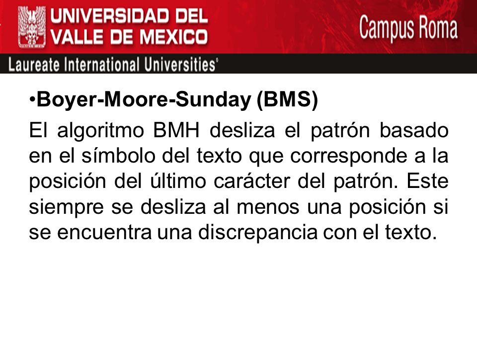 Boyer-Moore-Sunday (BMS) El algoritmo BMH desliza el patrón basado en el símbolo del texto que corresponde a la posición del último carácter del patró
