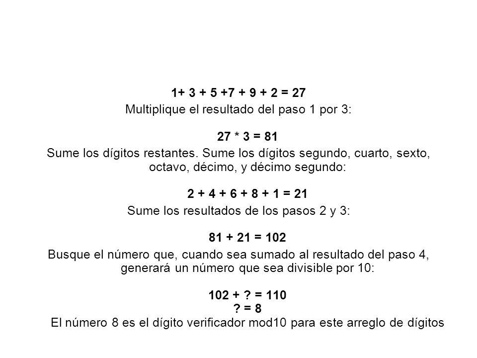 1+ 3 + 5 +7 + 9 + 2 = 27 Multiplique el resultado del paso 1 por 3: 27 * 3 = 81 Sume los dígitos restantes. Sume los dígitos segundo, cuarto, sexto, o
