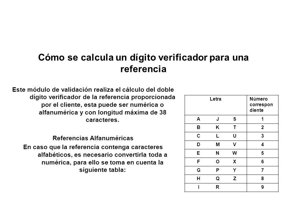 Este módulo de validación realiza el cálculo del doble dígito verificador de la referencia proporcionada por el cliente, esta puede ser numérica o alf
