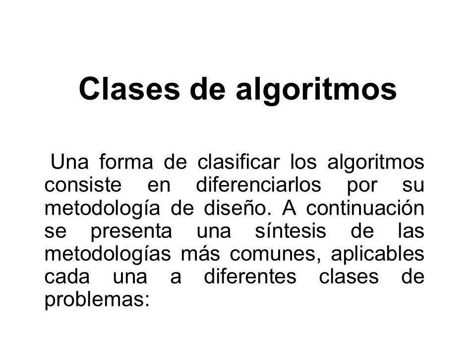 Clases de algoritmos Una forma de clasificar los algoritmos consiste en diferenciarlos por su metodología de diseño. A continuación se presenta una sí
