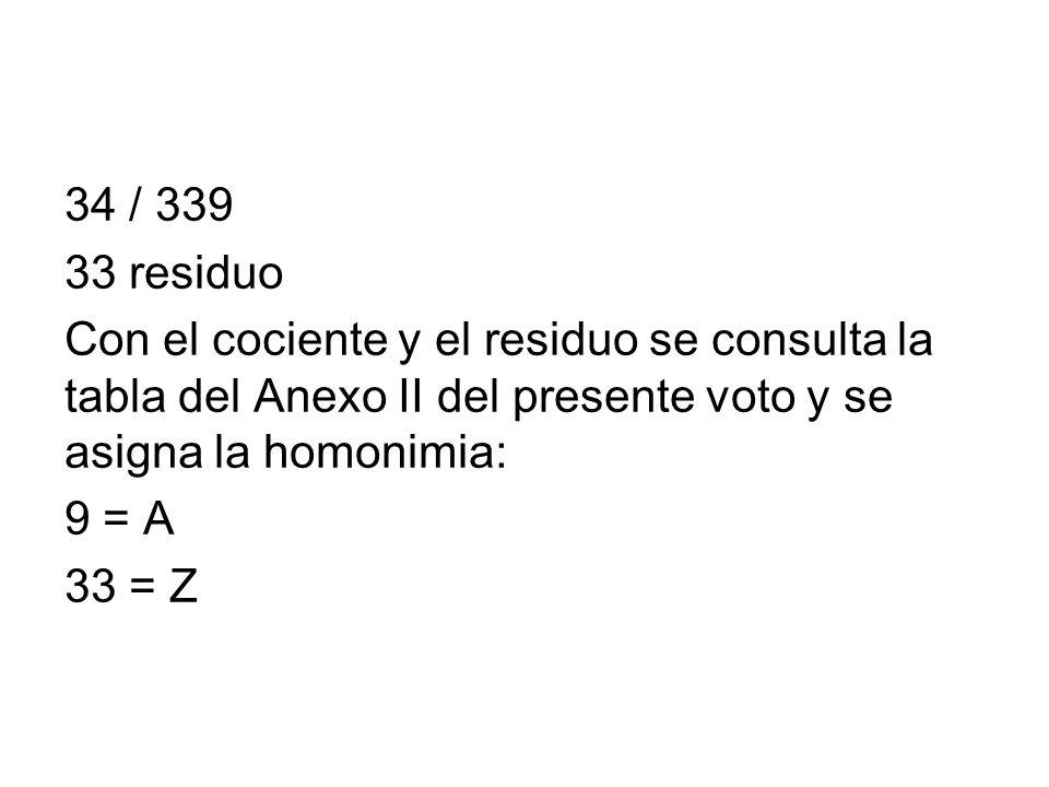 34 / 339 33 residuo Con el cociente y el residuo se consulta la tabla del Anexo II del presente voto y se asigna la homonimia: 9 = A 33 = Z