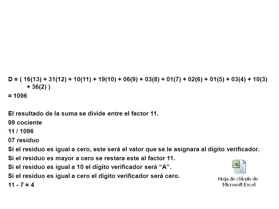 Ejemplo: D = ( 16(13) + 31(12) + 10(11) + 19(10) + 06(9) + 03(8) + 01(7) + 02(6) + 01(5) + 03(4) + 10(3) + 36(2) ) = 1096 El resultado de la suma se d