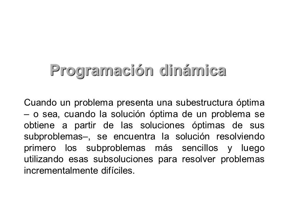 Cuando un problema presenta una subestructura óptima – o sea, cuando la solución óptima de un problema se obtiene a partir de las soluciones óptimas d