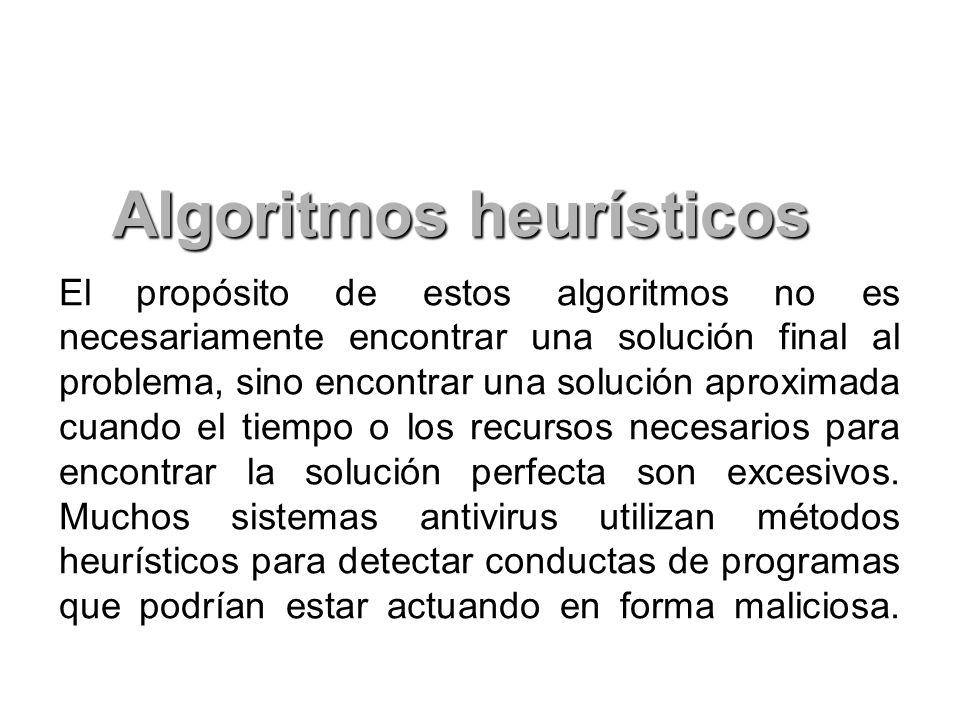 El propósito de estos algoritmos no es necesariamente encontrar una solución final al problema, sino encontrar una solución aproximada cuando el tiemp