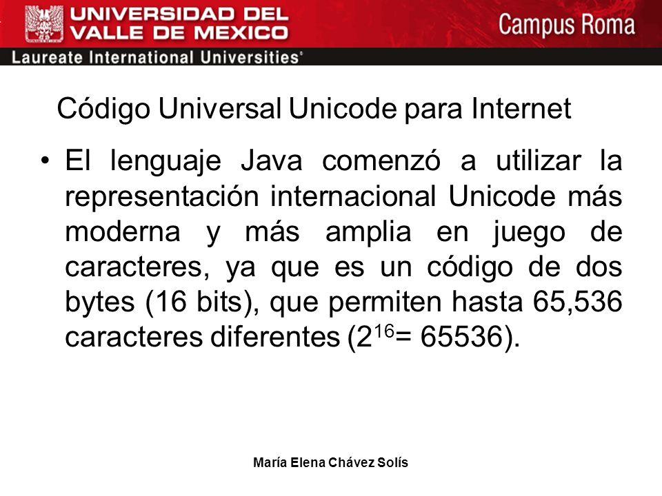 María Elena Chávez Solís Código Universal Unicode para Internet El lenguaje Java comenzó a utilizar la representación internacional Unicode más modern