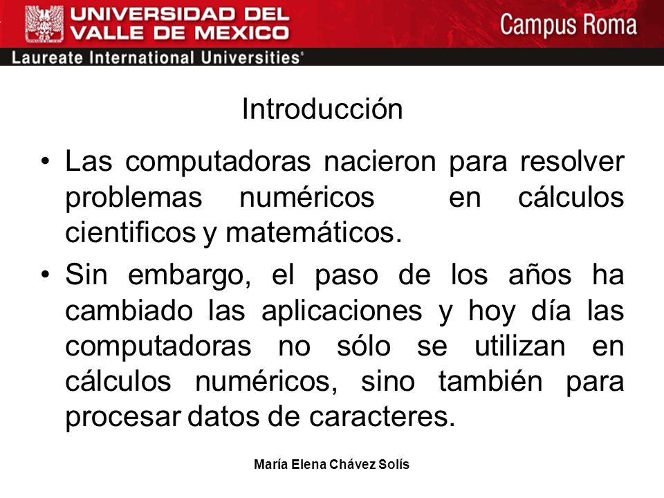 María Elena Chávez Solís Introducción Las computadoras nacieron para resolver problemas numéricos en cálculos cientificos y matemáticos. Sin embargo,