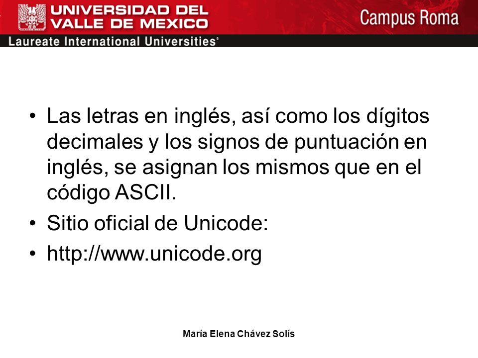 María Elena Chávez Solís Las letras en inglés, así como los dígitos decimales y los signos de puntuación en inglés, se asignan los mismos que en el có