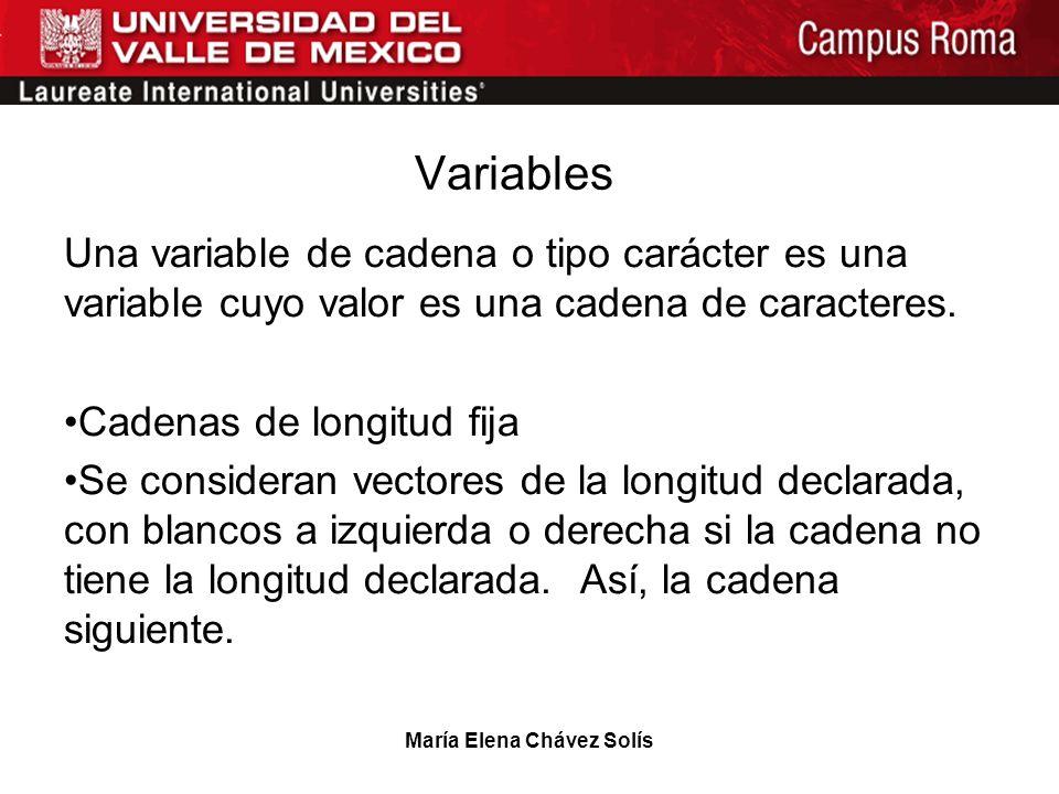 María Elena Chávez Solís Variables Una variable de cadena o tipo carácter es una variable cuyo valor es una cadena de caracteres. Cadenas de longitud