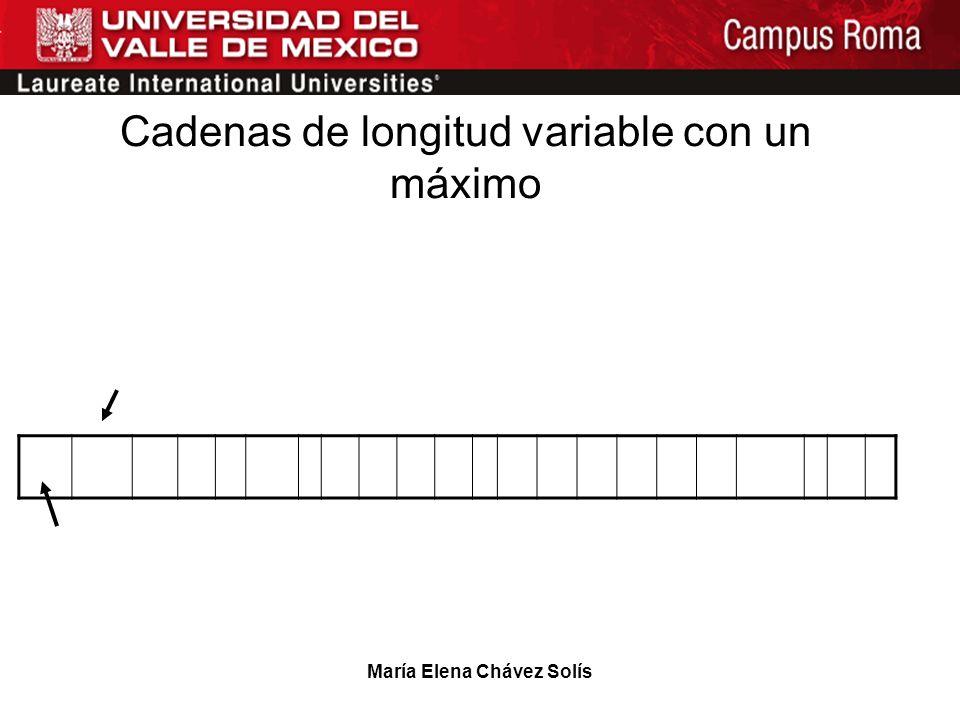 María Elena Chávez Solís 2017 Estacasaesruin Se considera un puntero con dos campos que contienen la longitud máxima y la longitud actual. Cadenas de