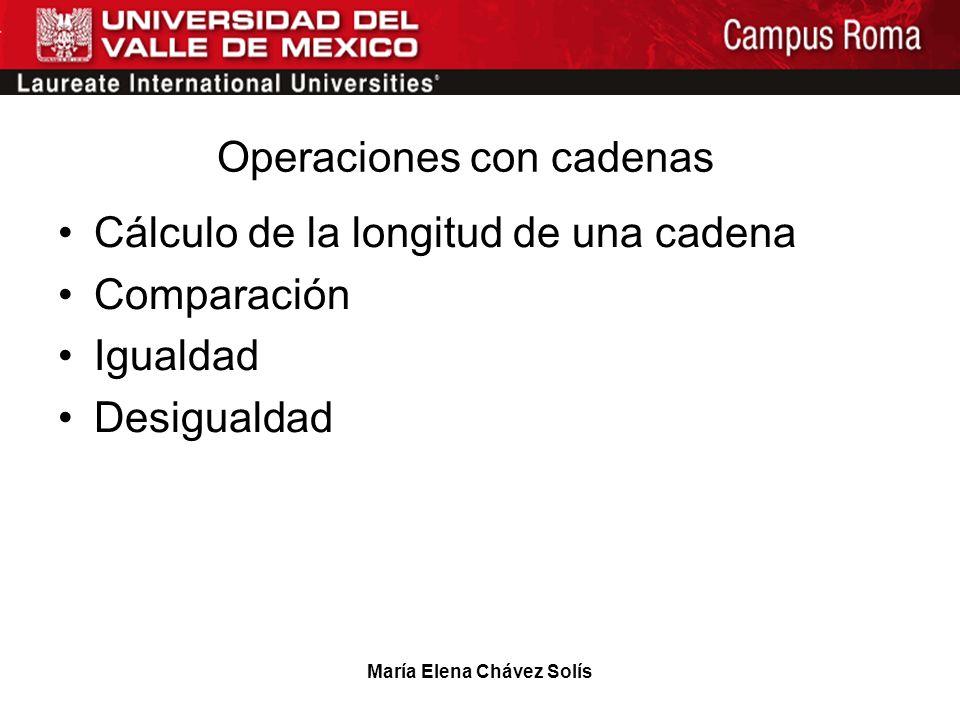 María Elena Chávez Solís Operaciones con cadenas Cálculo de la longitud de una cadena Comparación Igualdad Desigualdad