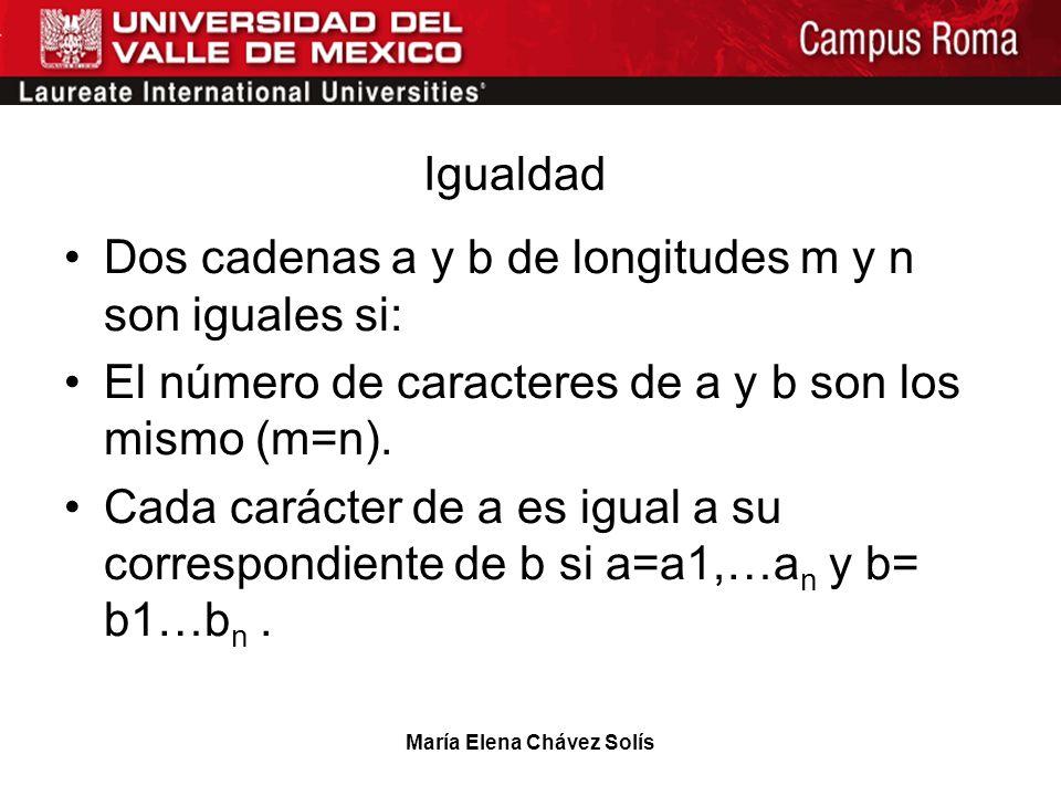 María Elena Chávez Solís Igualdad Dos cadenas a y b de longitudes m y n son iguales si: El número de caracteres de a y b son los mismo (m=n). Cada car