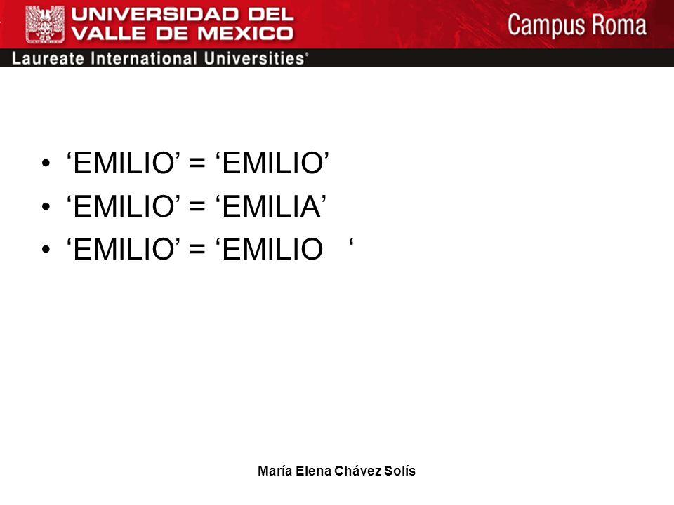 María Elena Chávez Solís EMILIO = EMILIO EMILIO = EMILIA EMILIO = EMILIO