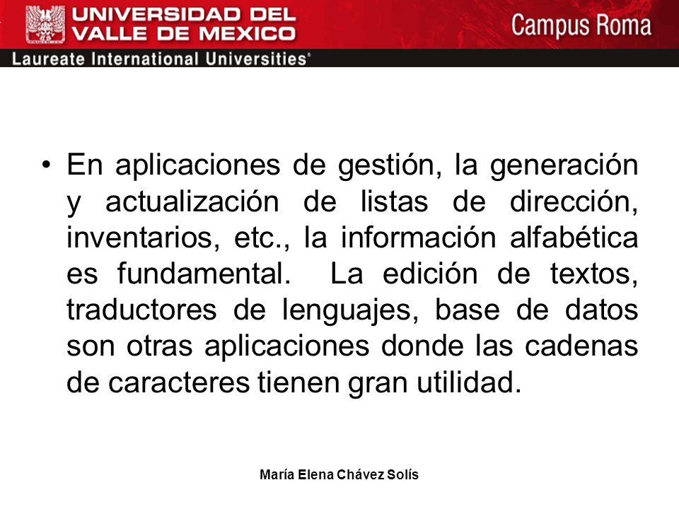 María Elena Chávez Solís En aplicaciones de gestión, la generación y actualización de listas de dirección, inventarios, etc., la información alfabétic