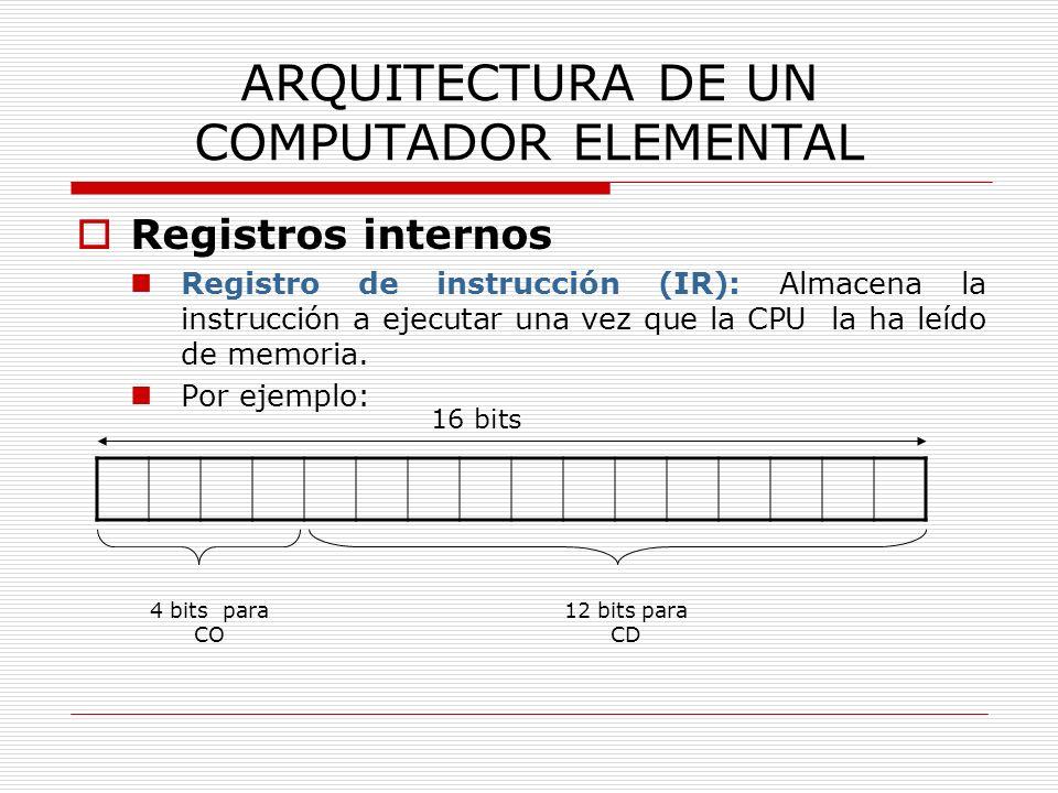 ARQUITECTURA DE UN COMPUTADOR ELEMENTAL Registros internos Registro de instrucción (IR): Almacena la instrucción a ejecutar una vez que la CPU la ha l