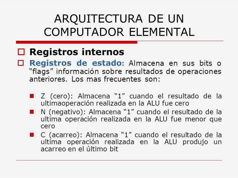 ARQUITECTURA DE UN COMPUTADOR ELEMENTAL Registros internos Registros de estado : Almacena en sus bits o flags información sobre resultados de operacio