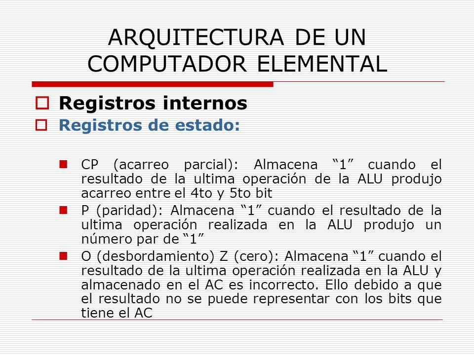 ARQUITECTURA DE UN COMPUTADOR ELEMENTAL Registros internos Registros de estado: CP (acarreo parcial): Almacena 1 cuando el resultado de la ultima oper
