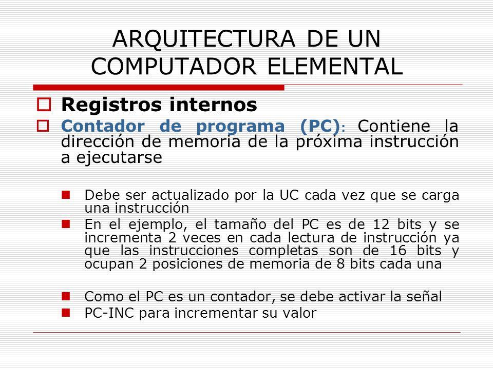 ARQUITECTURA DE UN COMPUTADOR ELEMENTAL Registros internos Contador de programa (PC) : Contiene la dirección de memoria de la próxima instrucción a ej