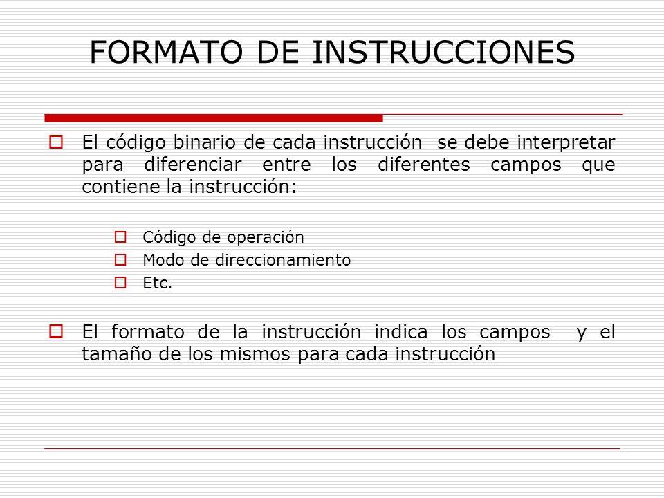 FORMATO DE INSTRUCCIONES Los dos campos básicos en un formato son: El código de operación (CO) que indica la operación a realizar El campo de dirección (CD) que determina la dirección de un dato, resultado o instrucción a la que hay que bifurcar.