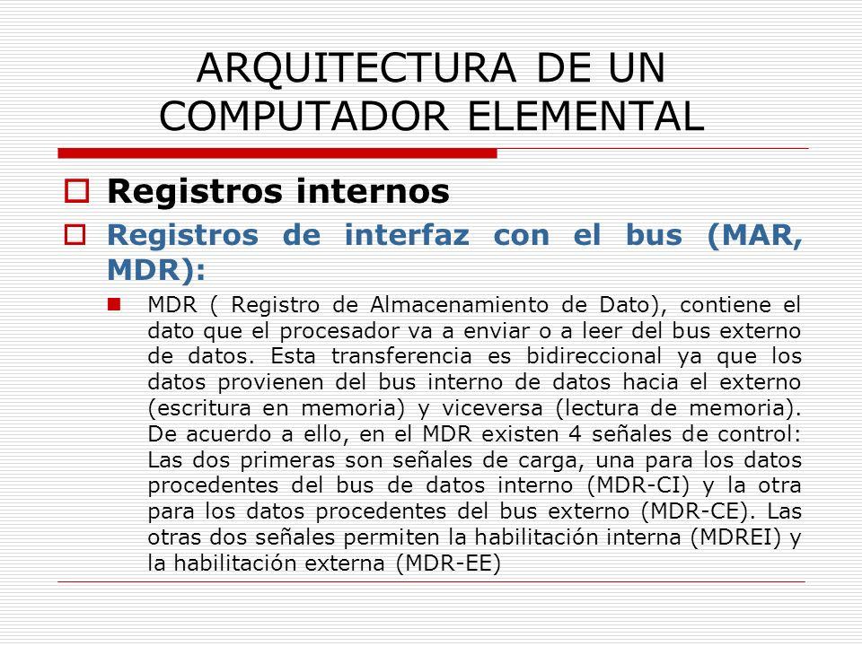 ARQUITECTURA DE UN COMPUTADOR ELEMENTAL Registros internos Registros de interfaz con el bus (MAR, MDR): MDR ( Registro de Almacenamiento de Dato), con