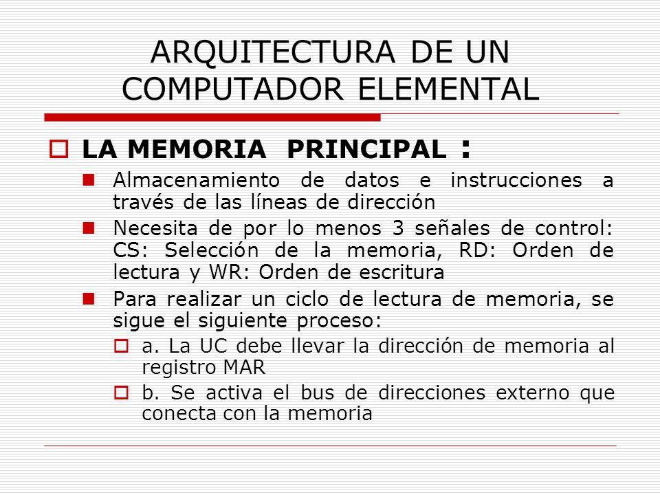 ARQUITECTURA DE UN COMPUTADOR ELEMENTAL LA MEMORIA PRINCIPAL : Almacenamiento de datos e instrucciones a través de las líneas de dirección Necesita de